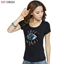 2019 Summer Style Fashion Big Eyes Sequin T Shirt Women Cotton Casual Tears Short Sleeve T-Shirt Women Tops Tees Free Shipping(China)