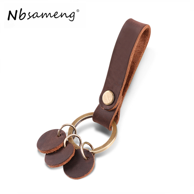NBSAMENG Casual Fashion Genuine Leather Vintage Unisex Small Car Key Holder Wallet Business Key Package Key Ring For Men