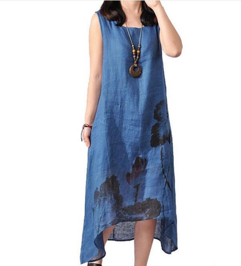 2018 Keten Vintage Uzun Annelik Elbiseler Hamile Kadınlar Için Giysi Giyim Çin Tarzı Baskı Artı Boyutu Gebelik Elbise