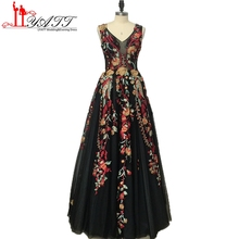 2017 Fashion Black Evening Dresses Long V-neck Elegant Embroidery Lace Cheap Arabic Formal Prom Dress Party Women Gown MN175