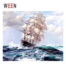 WEEN Ships Sailing Diy Painting By Numbers Abstract Ocean Waves Oil On Canvas Cuadros Decoracion Acrylic Wall Art 2018
