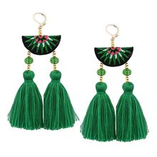 Hand-embroidered earrings Bohemian tassel earrings Alloy creative fashion trend earring Semi-circular female jewelry accessorie(China)