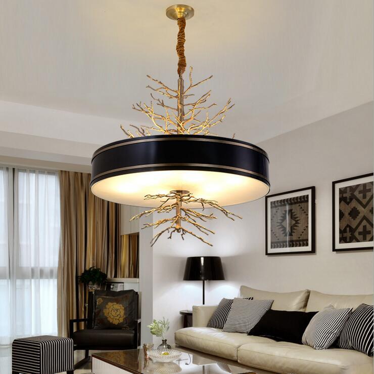 American Creative Art Retro Staircase Living Room Dining Lamp Postmodern Designer Light Luxury Copper Chandelier Led