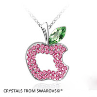 2015 Kids Gift Cute Apple Pendant Necklace With Crystals From SWAROVSKI For Valentine S Day Gift