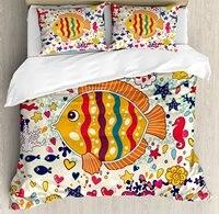 Животные природы Декор постельное белье под морской тематике мультфильм рыбы морской конек пузырь волны океана Осьминог 4 шт. Постельное бе