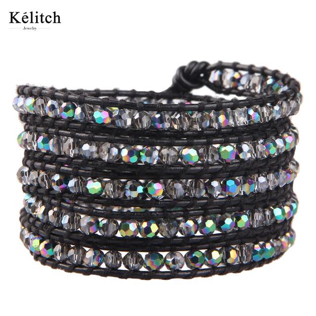 Kelitch 1 Pcs Cristal Frisado Pedra Envoltório pulseira em Couro Genuíno Cadeia Ajustável Strand Pulseiras Da Amizade Do Vintage Senhoras Bijoux