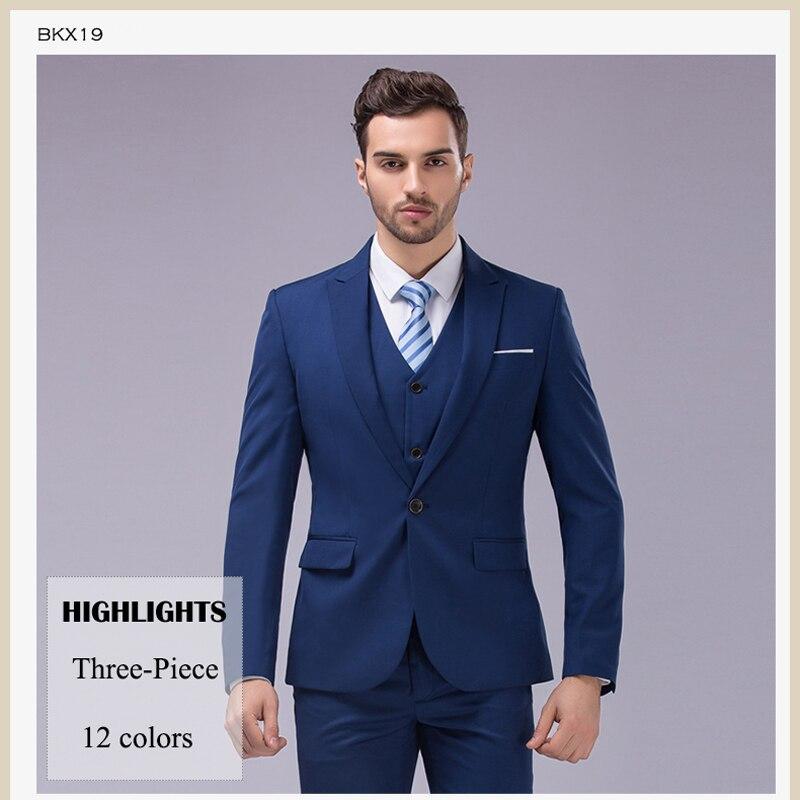 OSCN7 3pcs 12 Color Suit Men Slim Fit Notch Lapel Business Mens ...