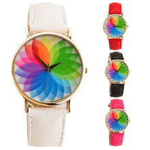 Summer New Product Woman Seven Color Lotus Leather Watch Quartz Watch RE