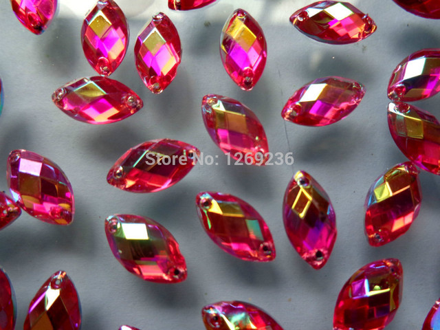 Free shipping 500pcs 6 12mm Navette shape Sew on Acrylic Crystal Rose Red  ABcolour Rhinestones For Hand Sewing Stones 8a21aecc42a8