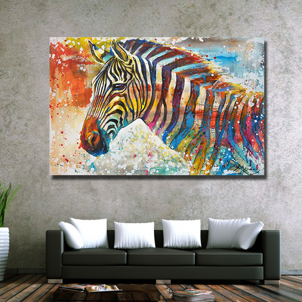 100% hand painted high q modern red bottom zebra horse oil painting canvas  modern home decoration wall art painting-in Painting & Calligraphy from  Home ...