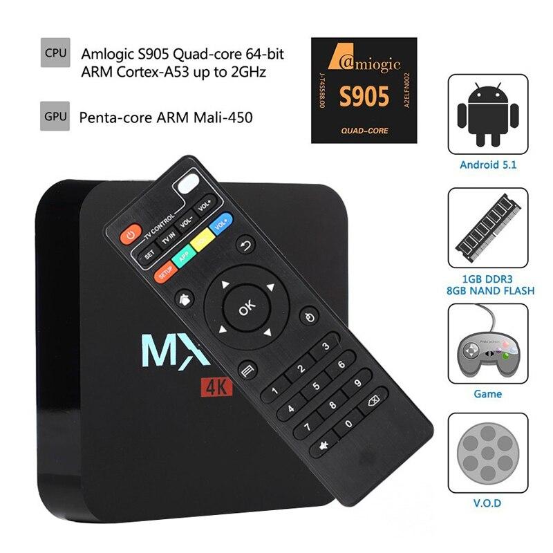 ФОТО MXQPro 4K Quad core Android 5.1 OS Amlogic S905 Android tv set top box 3D 4K 1080P Full HD Media Player 64 bit Smart tv boxes