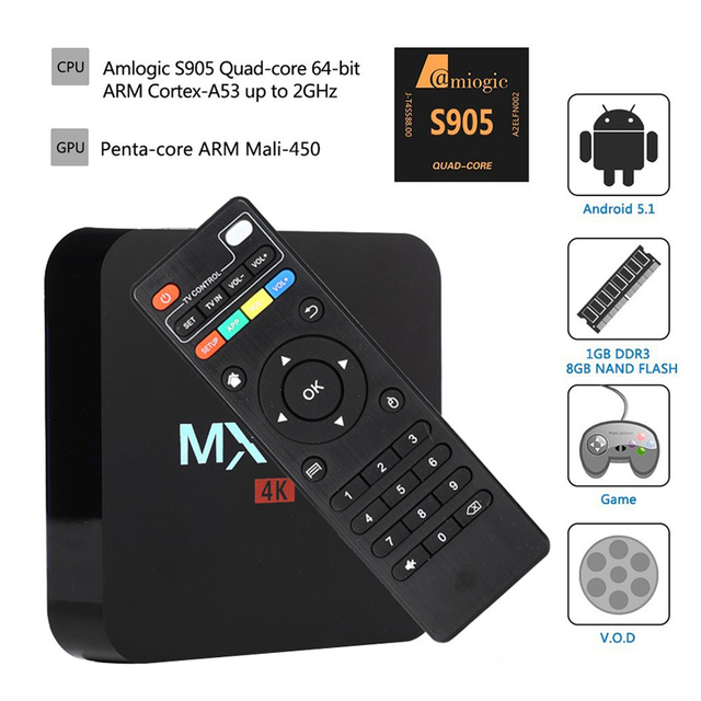 S905 MXQPro 4 K Quad core Android 5.1 Amlogic Android tv set top box 3D 4 K 1080 P Full HD Media Player XBMC KODI tv cajas de 64 bits