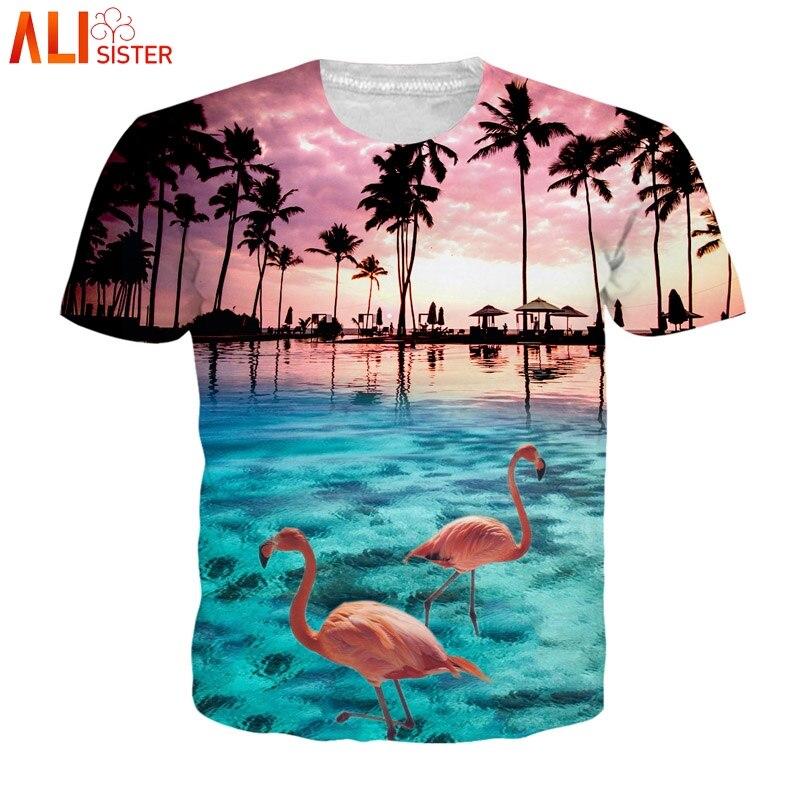 Alisister EUR Size 3d   T     Shirt   Flamingos Aloha Hawaiian Summer   T  -  Shirt   Men Women Graphic Print Tees Camiseta Hombre Tops Dropship