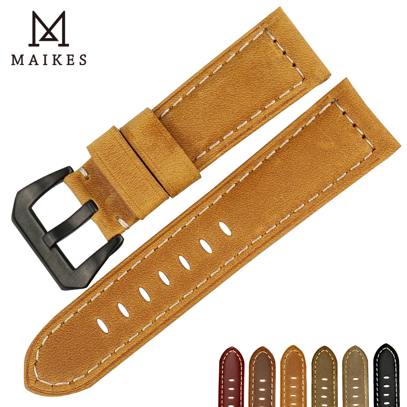 MAIKES Vintage genuine leather watchband 22mm 24mm 26mm mens watch belt wheat watch strap wristband for Panerai wheat breeding for rust resistance