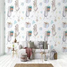 Hand-painted watercolor cartoon rabbit couple high-grade wall cloth manufacturers wholesale wallpaper photo