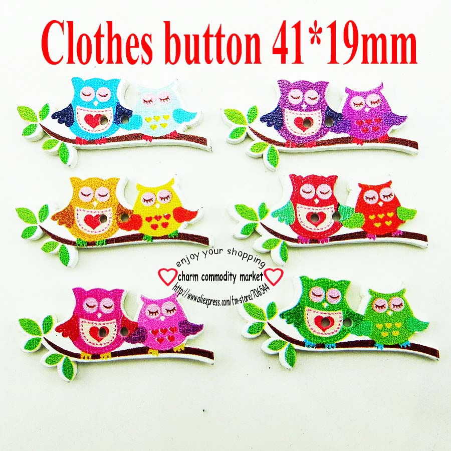 Mixed Horse Pattern Wood Sewing Buttons Scrapbooking 2 Trous Artisanat 37 mm