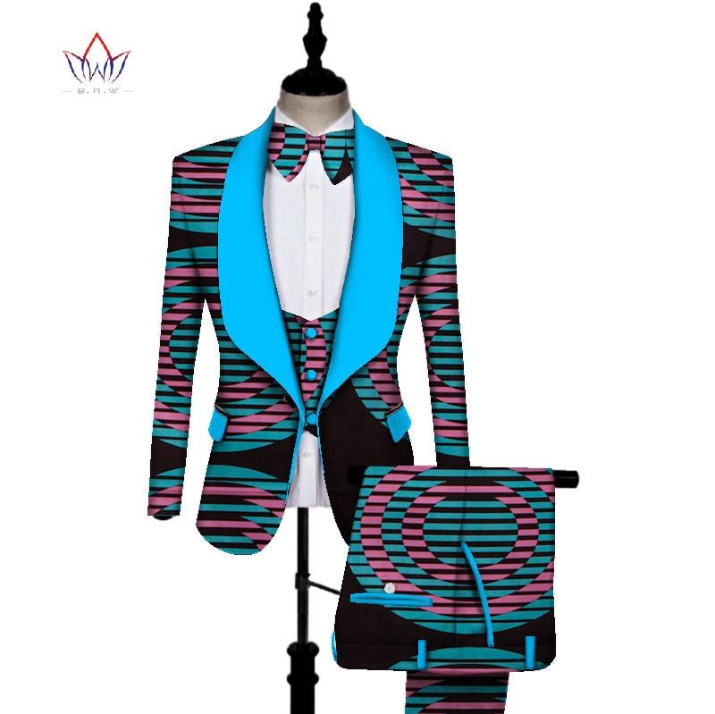 Imprimé africain 3 pièces hommes ensembles Dashiki haut et pantalon et gilet ensemble Bazin grande taille vêtements traditionnels africains WYN431 - 5