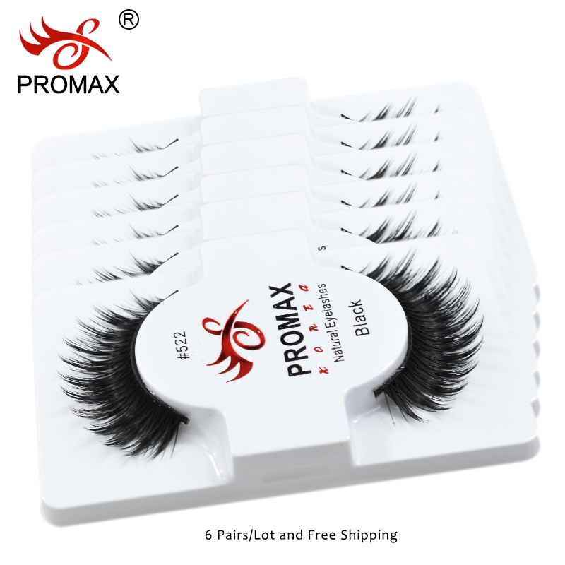 PROMAX 522 False Eyelashes 6 Pairs Handmade Natural Long Fake Eye Lashes Eyelash Extension Professional Makeup Wholesale