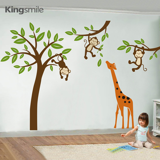 Modern Giraffe Monkeys Hanging On Tree Wall Stickers Nursery Decals Tree  Wall Art Sticker Kids Baby