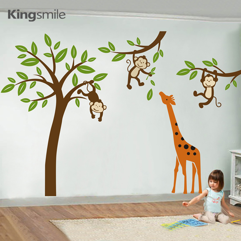 Nursery Wall Decals Cartoon Giraffe Monkeys Hanging On Tree Forest Wall Art Stickers Removable Kids Baby Room Home Decorations