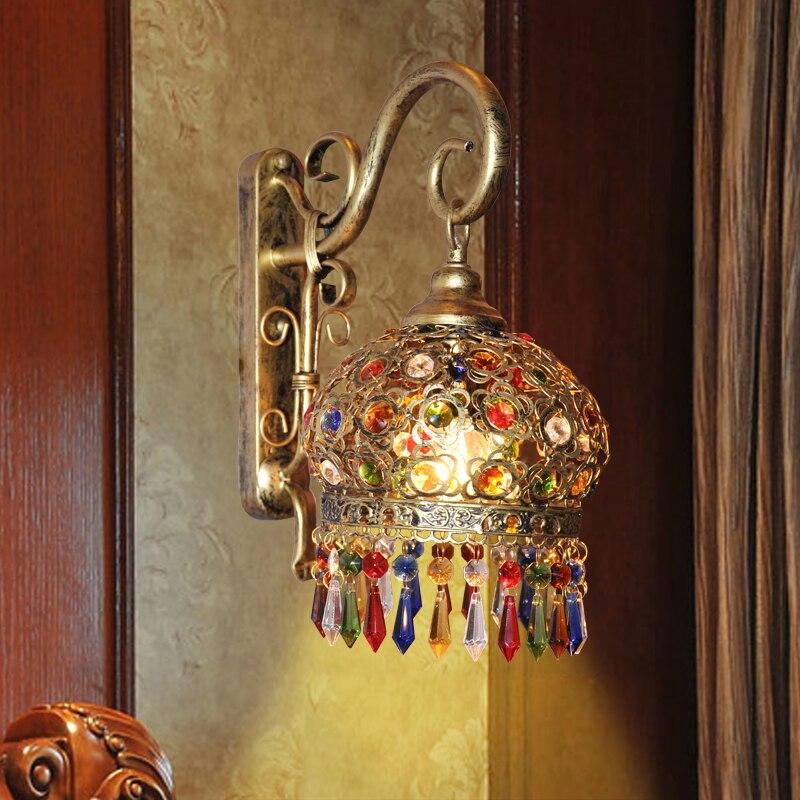 Объектив фар контракт средиземноморский синий кристалл лампы, бра руководитель кровать для спальни сладкий сад свет