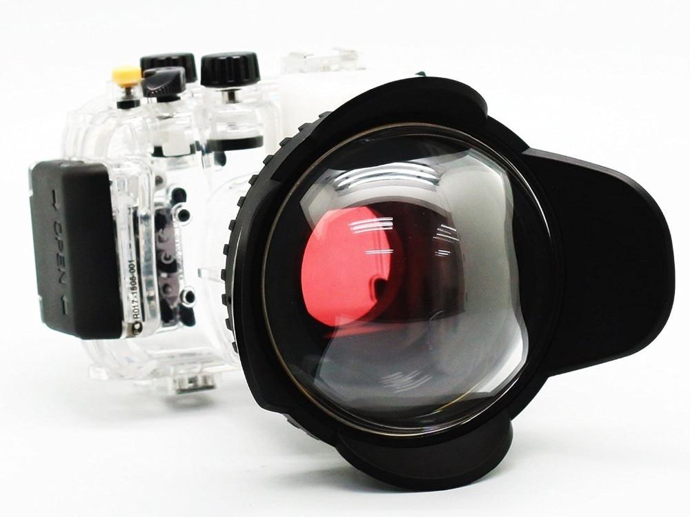 40M 130FT Underwater Camera Housing for Canon Powershot G16 Waterproof Case Fisheye Wide Angle 67mm Lens