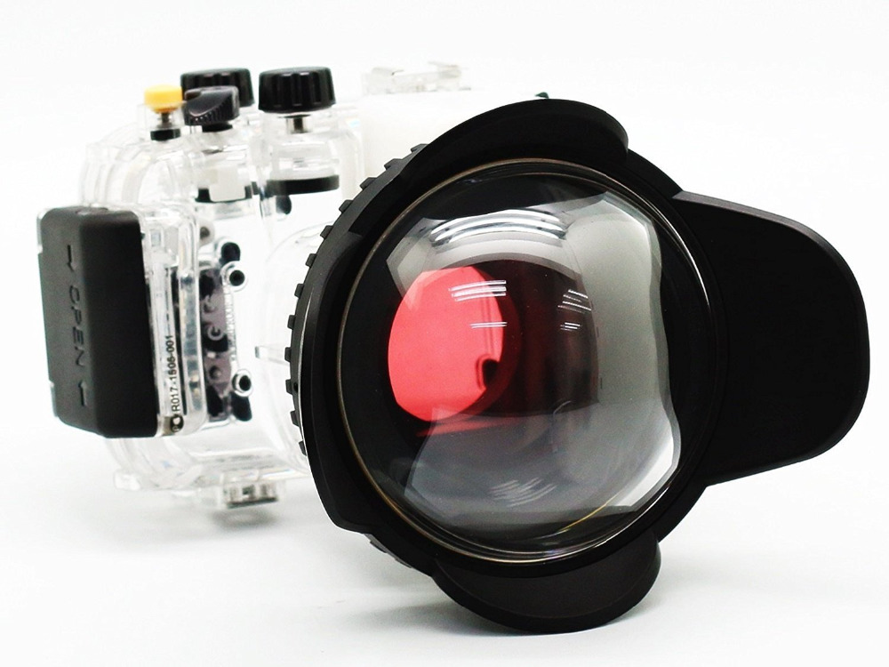 40M/130FT Underwater Camera Housing for Canon Powershot  G16  Waterproof  Case + Fisheye Wide Angle 67mm Lens + Red Filter