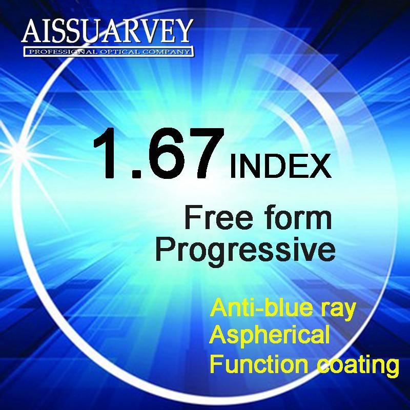 1.67 lentilles progressives de forme libre d'index Anti-rayon bleu revêtement vert asphérique Multifocal lentilles minces bifocales de verres