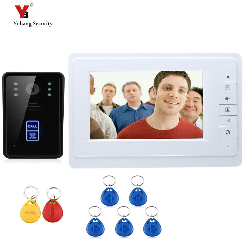 Yobang Security 7 Video Intercom Door Phone System With 1 White Monitor 1 RFID Card Reader HD Doorbell Night vision Camera 1v4 home security 7inch tft lcd monitor video door phone intercom doorbell night vision with rfid card password unlock camera