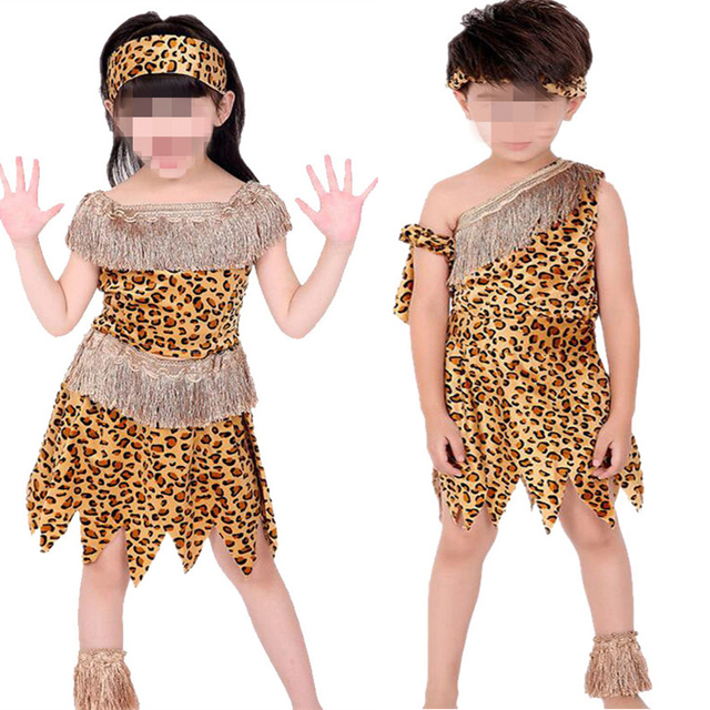 Boys Girl African Original Indian Savage Children Wildman Cosplay
