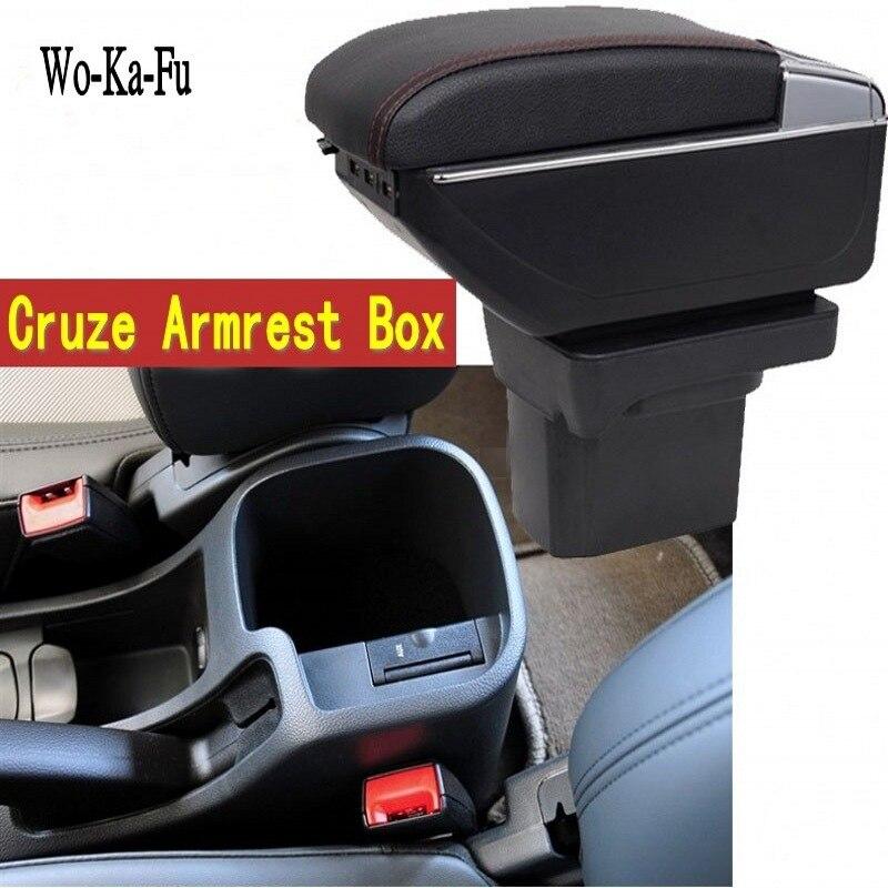 Per Cruze bracciolo centrale scatola scatola di contenuti Negozio scatola di Immagazzinaggio box bracciolo Chevrolet con il supporto di tazza posacenere interfaccia USB 2009- 2016