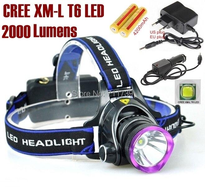 AloneFire HP81 Headlamp Cree XM-L T6 2000LM cree led Headlamp light led for 1/2 x18650+AC Charger/Car charger/2x 18650 battery original boruit 3x cree xm l xml t6 led 5000luems rechargeable headlamp head light 2x 18650 battery charger car charger