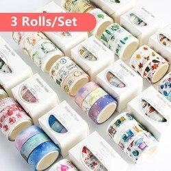 3 unidades/pacote Conjunto Pétala Flor Animal Fitas De Máscara de Papel Fita Adesiva Washi Japonês Washi Tape Diy Etiqueta Scrapbooking, 15mm x 5m