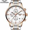 2017 mens relojes de primeras marcas de lujo guanqin reloj del cuarzo del deporte de los hombres reloj de acero completo fecha luminoso masculino del relogio masculino