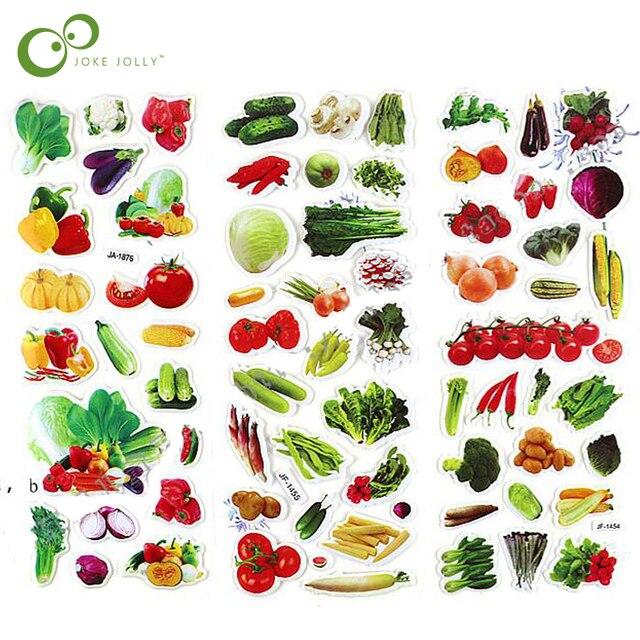 5 hojas de pegatinas de verduras lindo DIY pegatinas de dibujos animados para niños pegatinas de alimentos juguetes de recortes de PVC regalos para niños YYY GYH