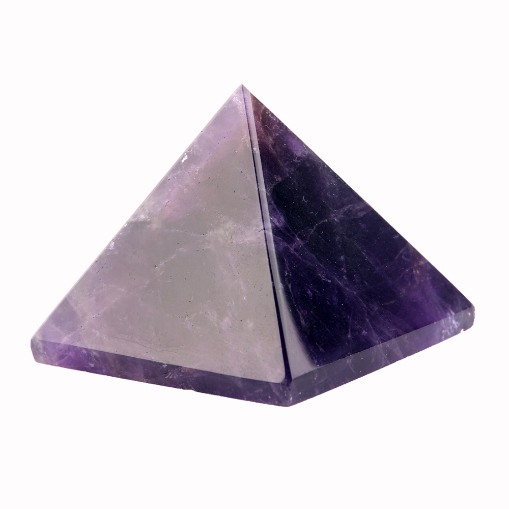 40*30mm Natural Amethyst Pyramid Chakra Reiki Stone Carved Feng Shui Carfts Decoration Point Healing Crystal Stone Free pouch