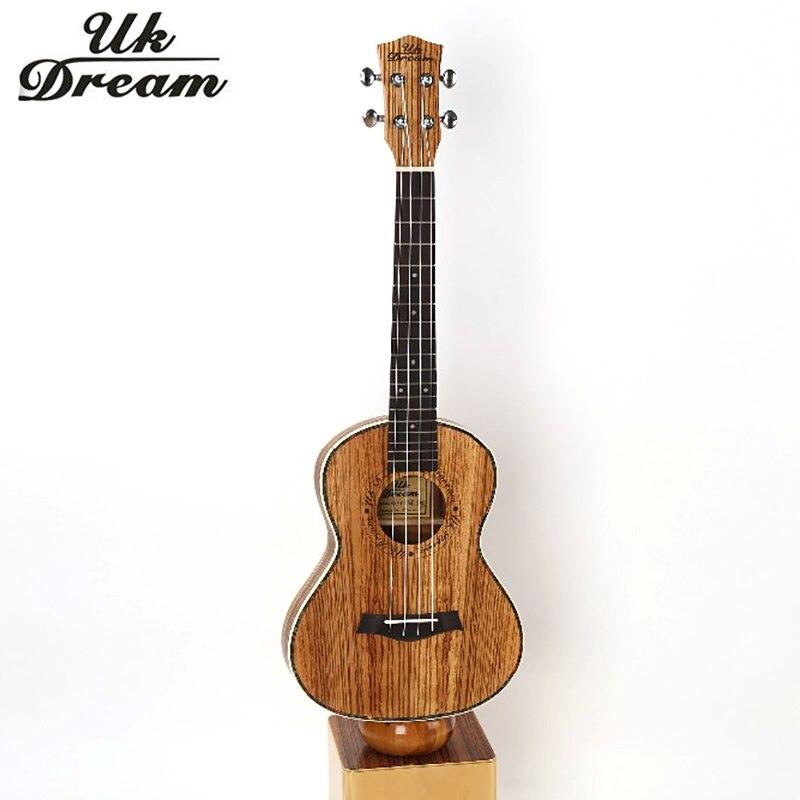 Guitarra acústica de 26 pulgadas Completo Cebra-no Barril Delgado Ukulele Guitar