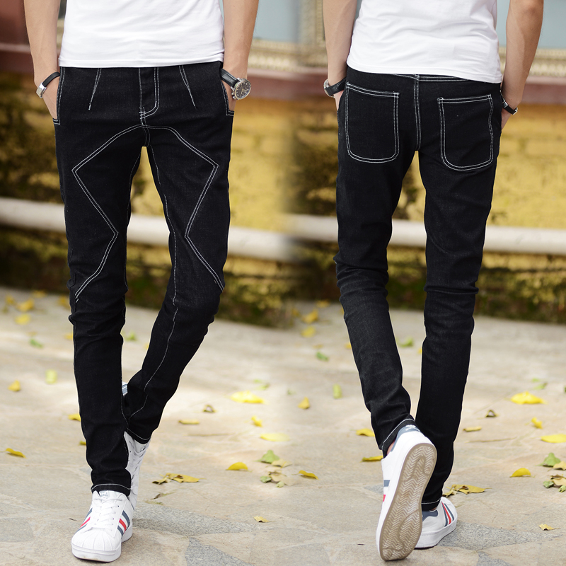 New Men Jeans Black Dark Blue Fashion Unique Style Mens Trousers Sizes 28-34 Pop Youth Casual Denim Trousers