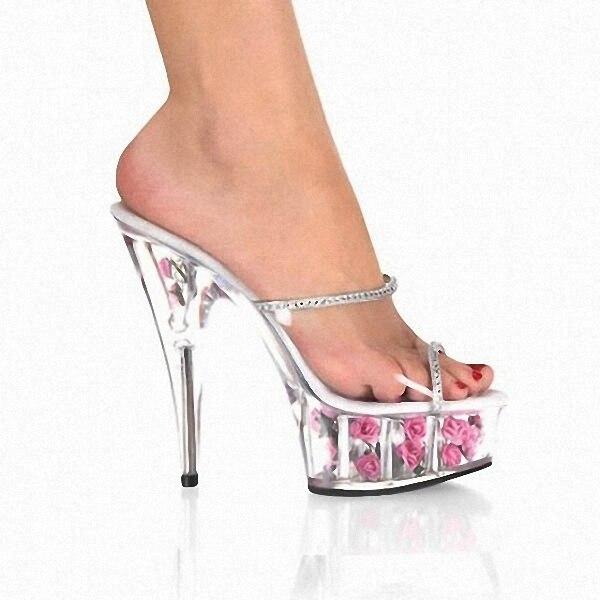 Cm Completa Transparente Romántico Novia 6 Zapatos Altos Pulgadas Rosa Tacones Plataforma Ultra Cristal Zapatillas Flor 15 1p68x
