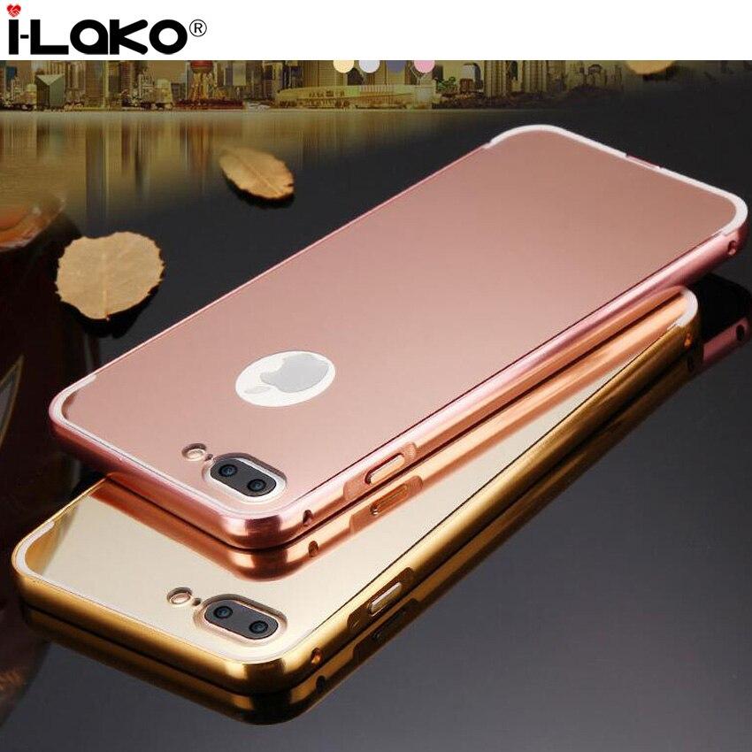 bilder für 100 teile/los Für iPhone 6 S 6 S Plus Fall, Spiegel schutzfolie Vernickelt Aluminium Rahmen + Acryl PC Fall für iPhone 7 7 Plus