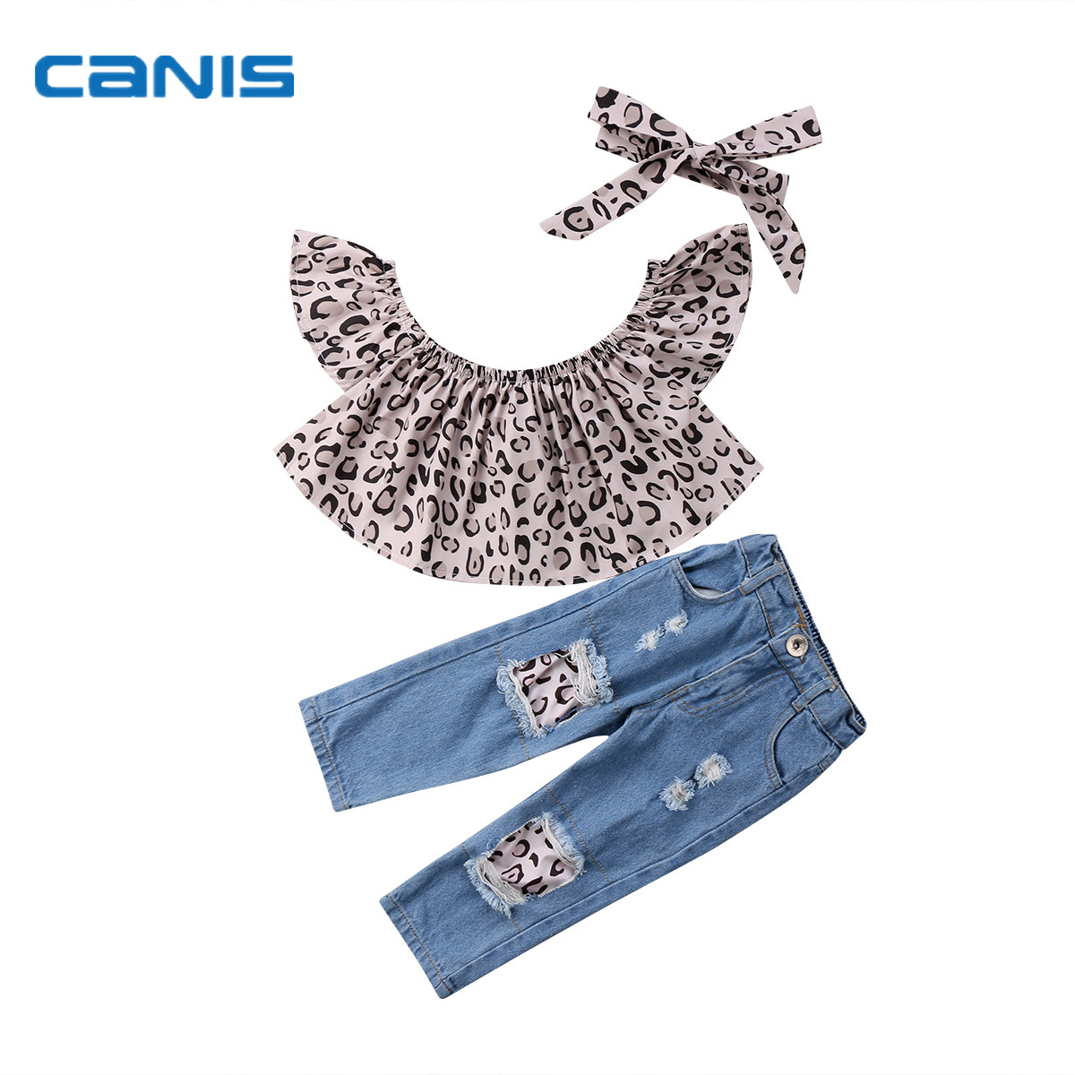 2018 Brand New Toddler Infant Child kids baby Girl Outfits Clothes Leopard Tops Destroyed Jeans headwear 3Pcs Fashion Summer Set cute toddler baby girl cotton floral leopard bodysuit shoe hairband 3pcs outfits set summer newborn baby girl clothes