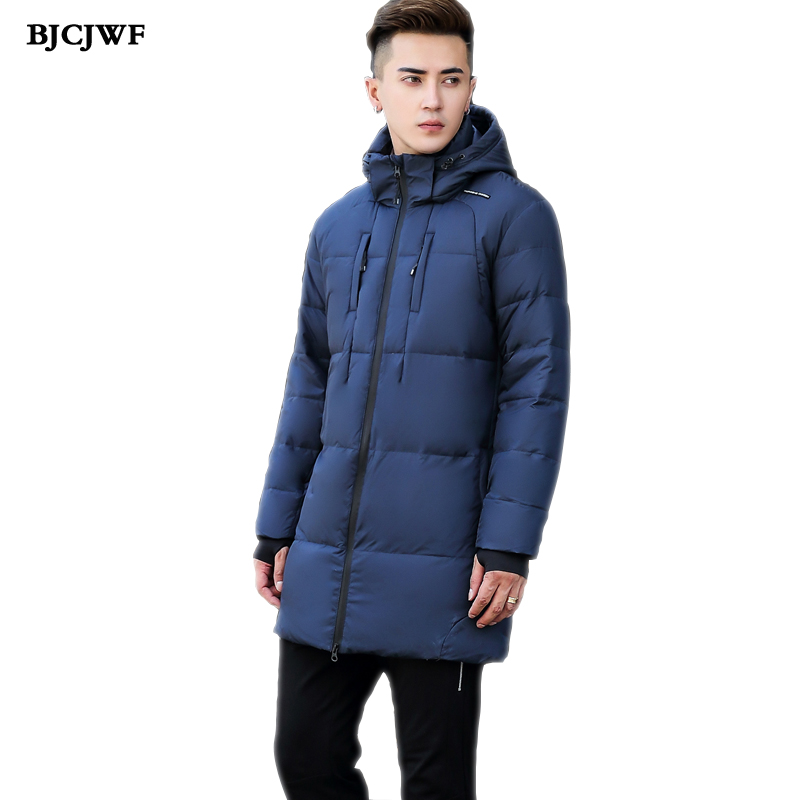 BJCJWF Brand 2017 Winter jacket men Casual Canada jacket Long Style Slim Thicken white duck down Coat Hooded Parka Male Outwear