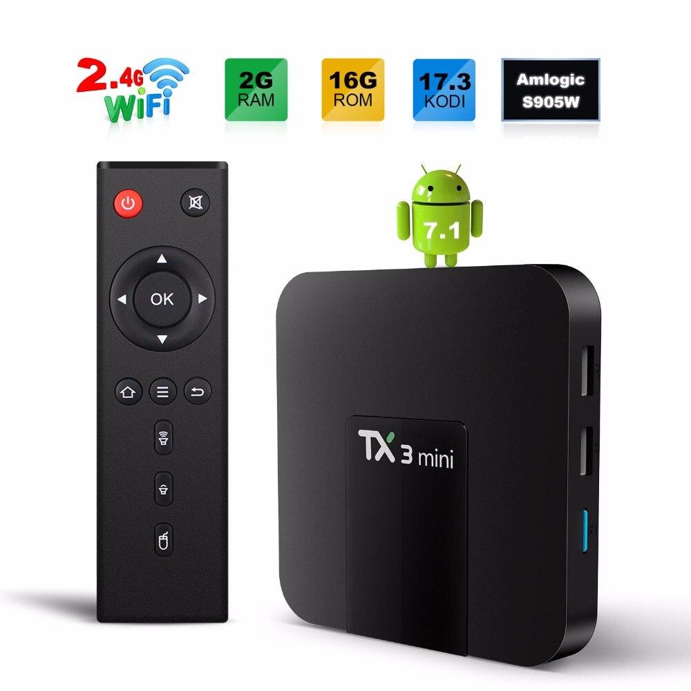 Gotit TX3 mini 2 GB 16 GB Android 7.1 TV BOX Amlogic S905W Quad Core Suppot H.265 4 K 2.4 GHz WiFi Mediaspeler IPTV Box twip gotit 53
