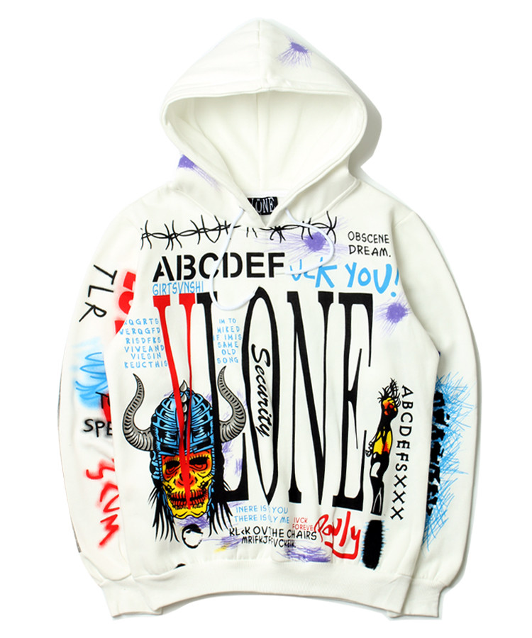 VLONE Hoodies New Style Graffiti Hip Hop Pullover fake