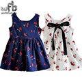 Varejo 3-10 anos vestido estampado sem mangas pequena cereja verão das crianças dos miúdos