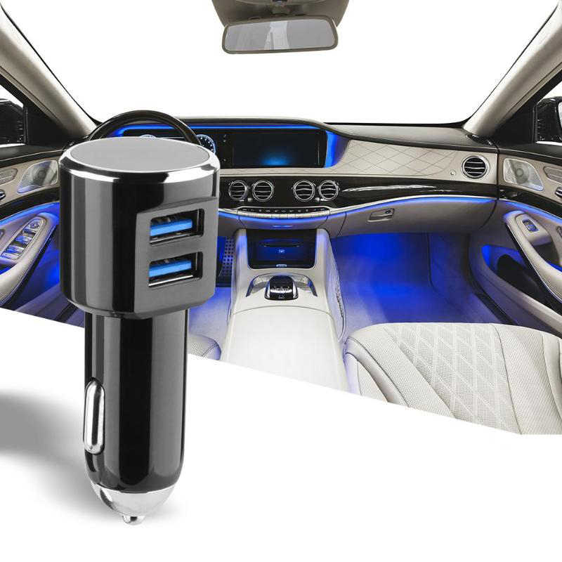 Универсальный 5 В/3.4A двойной USB синий светодиодный телефон автомобильное зарядное устройство адаптер для iPhone samsung Xiaomi IPad Tablet PC