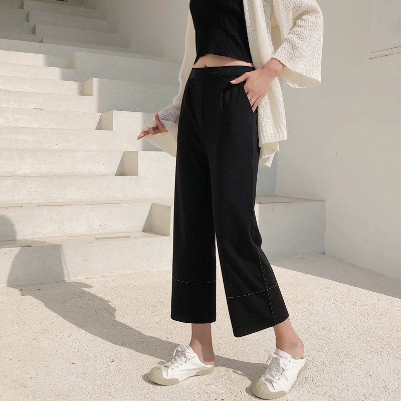 Women Ankle-length Patns 2019 Summer Solid High Elastic Waist Trousers New Arrivals Female Loose   Wide     Leg     Pants   Oiifce Lady Wear