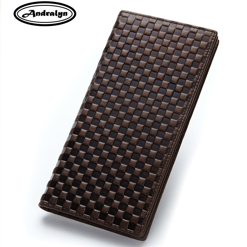 Andralyn Cow Leather Men's Wallet Casual Genuine Leather Slim Long Embossing Men Wallet Purse Standard Holders Short Wallets andralyn 100pcs nylon clevis 1 2xl21mm