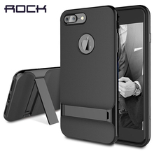 ROCK Innovative 3D Kickstand design TUP+PC Case for iPhone 7 Jet black for Apple iPhone 7 Plus case holder stand back cover