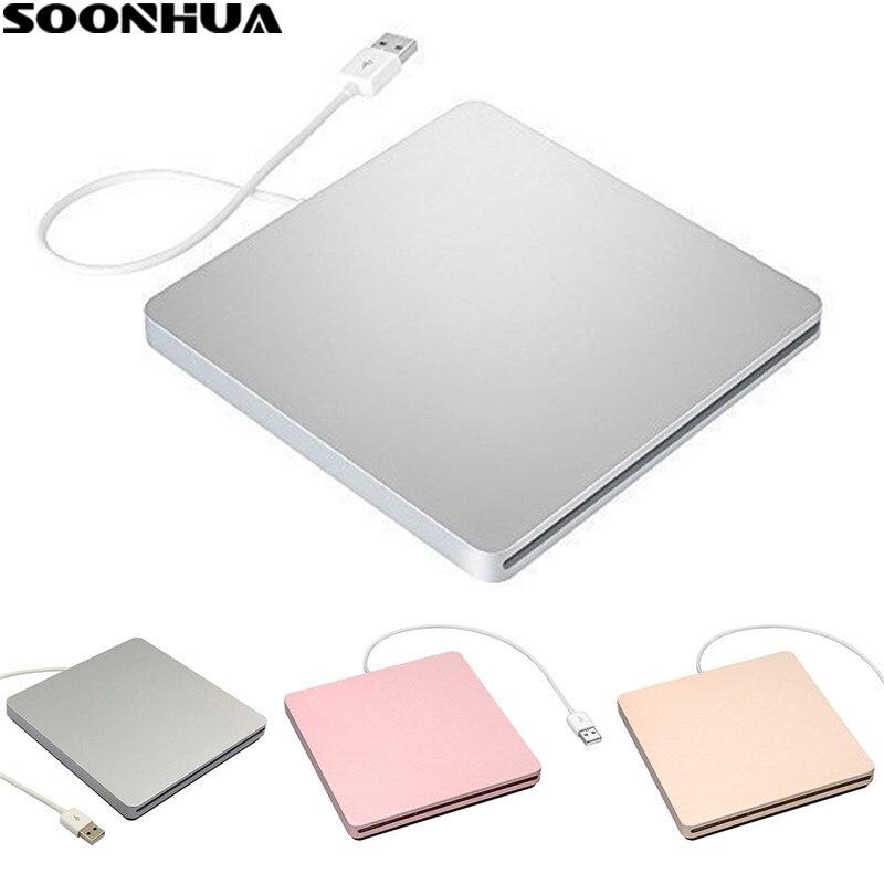 SOONHUA USB 2.0 Lecteur CD Portable Externe CD-RW DVD-RW CD DVD ROM Lecteur Lecteur Écrivain Graveur Graveur pour iMac MacBook ordinateur portable